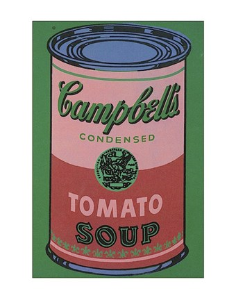 Framed Colored Campbell's Soup Can, 1965 (red & green) Print