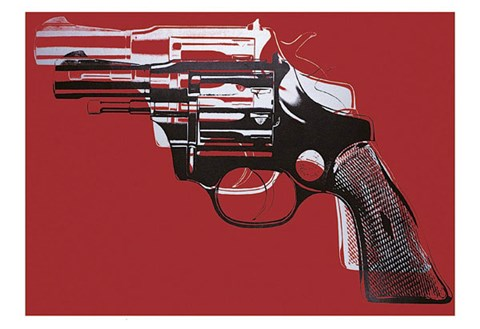 Framed Guns, c. 1981-82 (white and black on red) Print