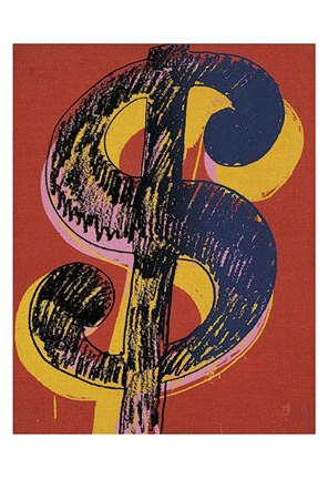 Framed Dollar Sign, 1981 (black and yellow on red) Print