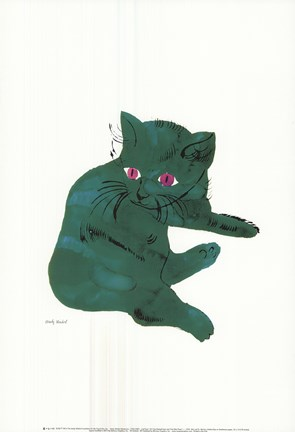 Framed Cat From 25 Cats Named Sam and One Blue Pussy , c. 1956  (Green Cat) Print