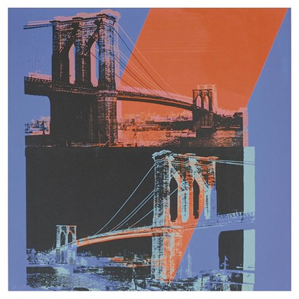 Framed Brooklyn Bridge, 1983 (pink, red, blue) Print