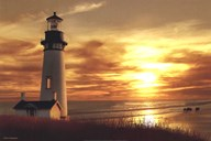 Lighthouse at Sunset Art