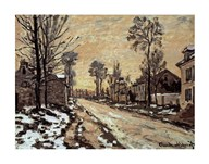 Road at Louveciennes, Melting Snow, Sunset Art