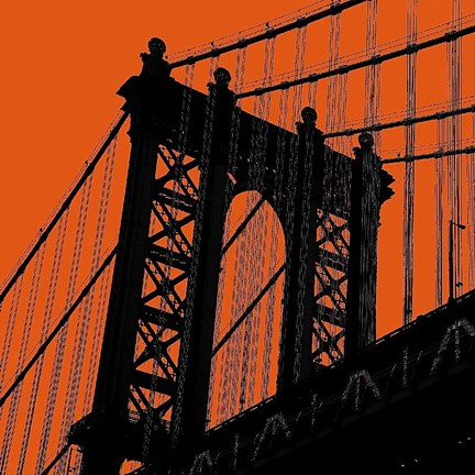 Framed Orange Manhattan Print