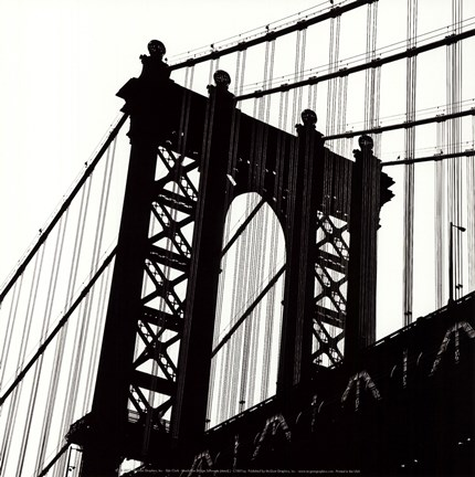 Framed Manhattan Bridge Silhouette (detail) Print