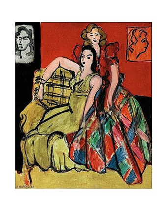 Framed Two Young Women, the Yellow Dress and the Scottish Dress, 1941 Print