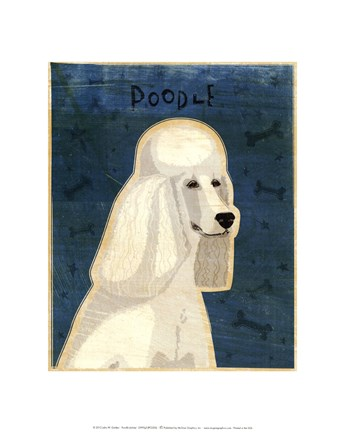 Framed Poodle (white) Print