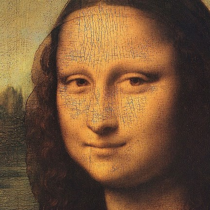 Framed Mona Lisa (detail) Print