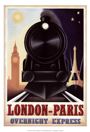 Framed London-Paris Overnight Express Print