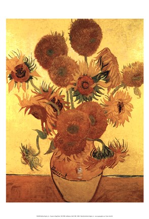 Framed Sunflowers on Gold, 1888 Print