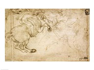 A Horseman in Combat with a Griffin  Fine Art Print