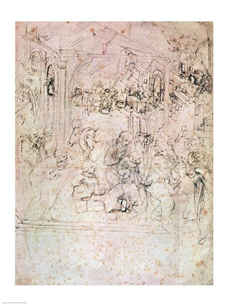 Framed Composition sketch for The Adoration of the Magi, 1481 Print