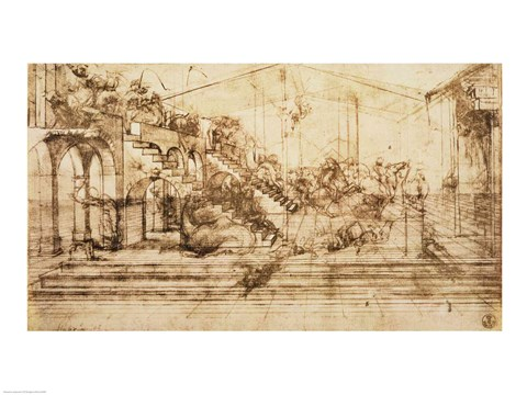 Framed Perspective Study for the Background of The Adoration of the Magi Print