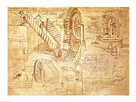 Facsimile of Codex  Atlanticus Screws and Water Wheels  Fine Art Print