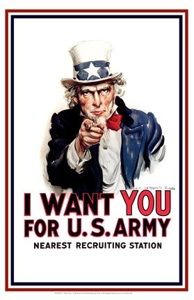 Framed Uncle Sam  - I Want You Print