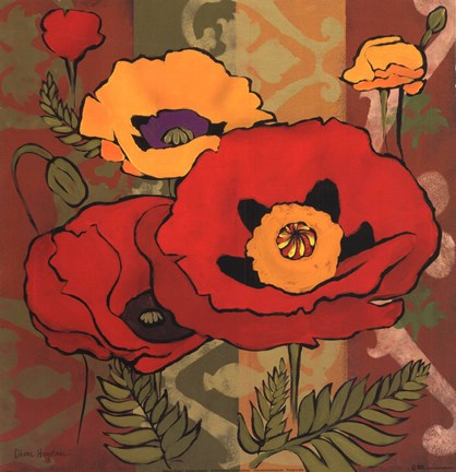 Framed Majestic Poppies I Print