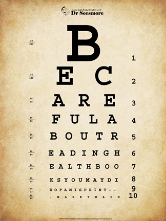 Framed Mark Twain Eye Chart Print