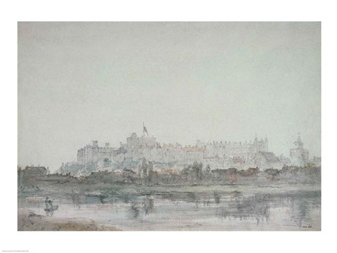 Framed Windsor Castle from the River, 19th century Print
