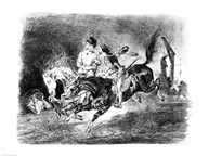 Mephistopheles and Faust riding in the Night, Illustration for Faust by Goethe, 1828  Fine Art Print