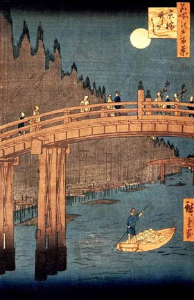 Framed Kyoto Bridge by Moonlight Print