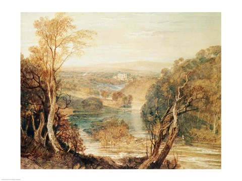 Framed River Wharfe with a distant view of Barden Tower Print