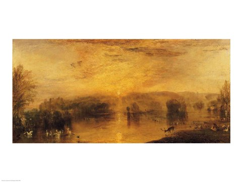 Framed Lake, Petworth: Sunset, a Stag Drinking Print