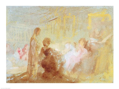Framed Interior at Petworth House with people in conversation, 1830 Print