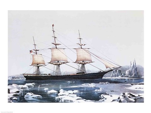 Framed Clipper Ship Red Jacket in the ice off Cape Horn on her passage from Australia to Liverpool Print