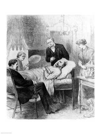 Framed President Garfield Lying Wounded in his Room at the White House, Washingto Print