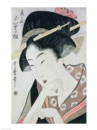 Framed Bust portrait of the heroine Kioto of the Itoya Print
