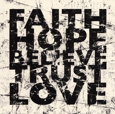 Framed Marble Faith Believe Love Print
