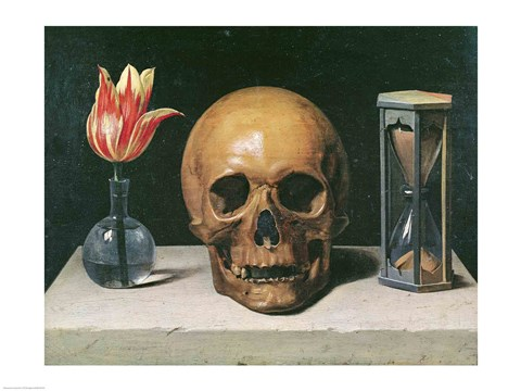 Framed Vanitas Still Life with a Tulip, Skull and Hour-Glass Print