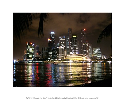 Framed Singapore at Night Print