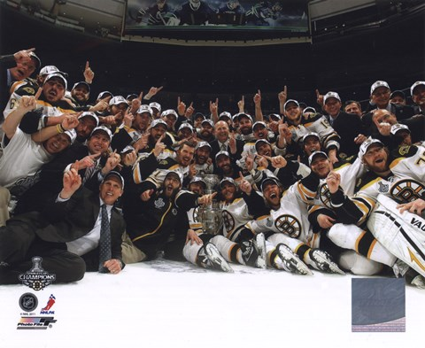 Framed Boston Bruins Celebrate Winning Game 7 of the 2011 NHL Stanley Cup Finals Print