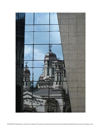 Framed Reflection of Church Detail Print