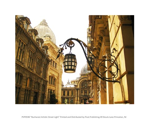 Framed Bucharest Artistic Street Light Print