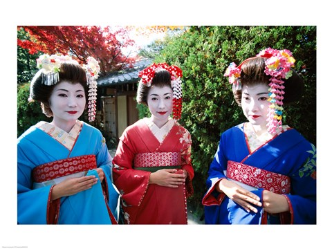 Framed Three geishas, Kyoto, Honshu, Japan Print