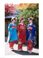Three geishas, Kyoto, Honshu, Japan (posed)  Fine Art Print