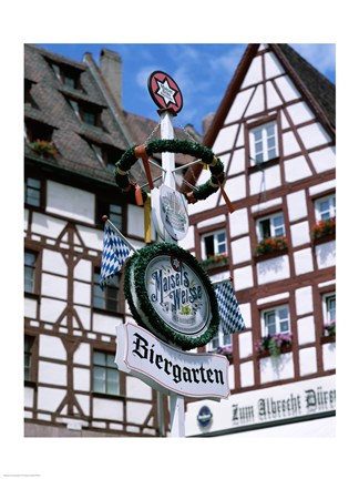 Framed Beer Garden Sign, Franconia, Bavaria, Germany Print