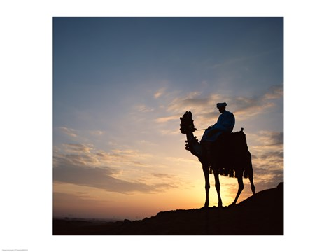 Framed Silhouette of a man on a camel, Giza, Egypt Print