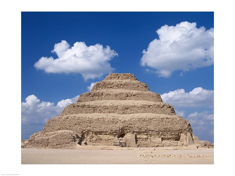 Framed Step Pyramid of Zoser, Sakkara, Egypt Print