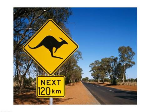 Kangaroo Crossing Sign Australia Fine Art Print By