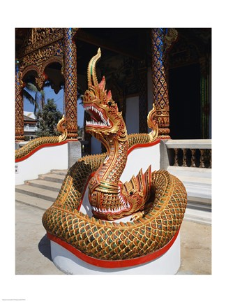 Framed Snake Statue, Naga Temple, Chiang Mai Province, Thailand Print