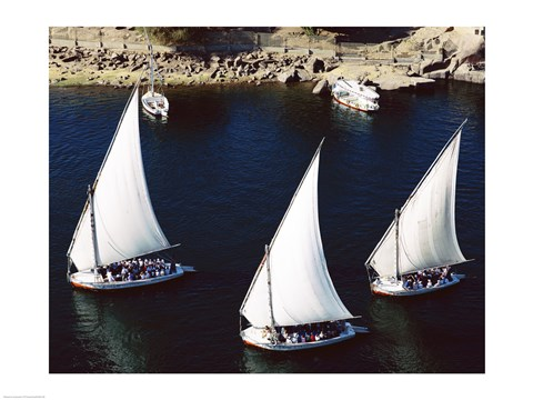 Framed Sailboats in a river, Nile River, Aswan, Egypt Print