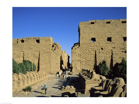 Framed Avenue of the Sphinxes, Temples of Karnak, Luxor, Egypt Print
