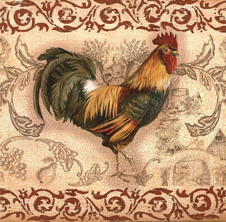 Toile Rooster Ii Fine Art Print By Gregory Gorham At