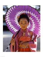 Portrait of a girl holding a parasol, Shichi Go San, Japan