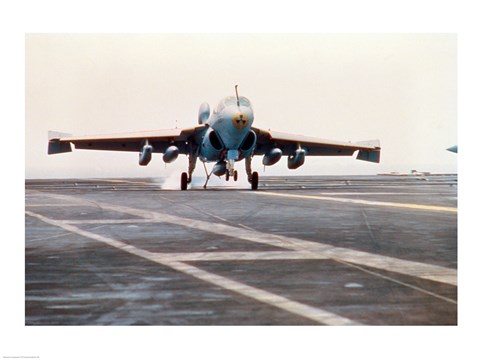 Framed Fighter plane taking off from the USS Enterprise aircraft carrier Print