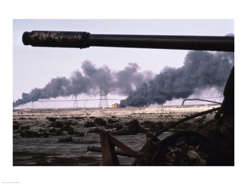 Framed Kuwait: An Oil Field Set  Ablaze Print