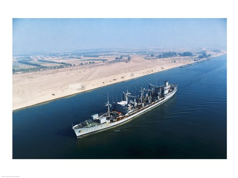 Framed USS Neosho Transits the Suez Canal Print